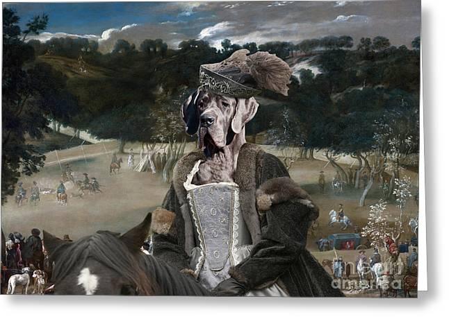 Great Dane Portrait Prints Greeting Cards - Great Dane Art - Philip IV hunting Wild Boar  Greeting Card by Sandra Sij