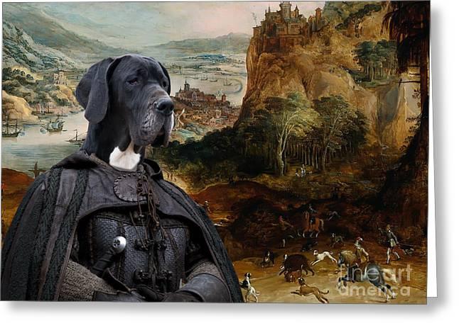 Great Dane Portrait Prints Greeting Cards - Great Dane Art - The Boar Hunt Greeting Card by Sandra Sij