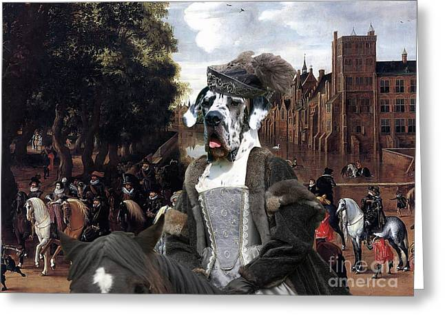 Great Dane Portrait Prints Greeting Cards - Great Dane Art - The Royal Procession Greeting Card by Sandra Sij