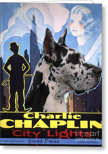 Great Dane Portrait Prints Greeting Cards - Great Dane Art Canvas Print - City Light Movie Poster Greeting Card by Sandra Sij