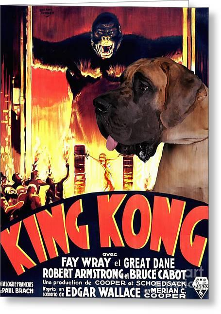 Great Dane Portrait Prints Greeting Cards - Great Dane Art Canvas Print - King Kong Movie Poster Greeting Card by Sandra Sij