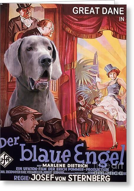 Great Dane Portrait Prints Greeting Cards - Great Dane Art Canvas Print - Der Blaue Engel Movie Poster Greeting Card by Sandra Sij