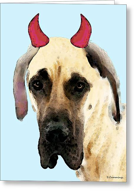Dane Greeting Cards - Great Dane Art - Ok Maybe I Did Greeting Card by Sharon Cummings
