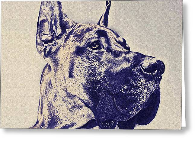 great dane- blue sketch Greeting Card by Jane Schnetlage
