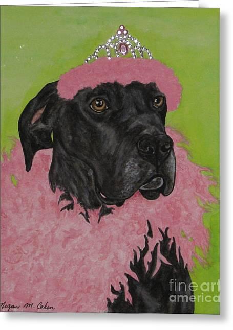 Tiara Paintings Greeting Cards - Great Dane In Drag Greeting Card by Megan Cohen