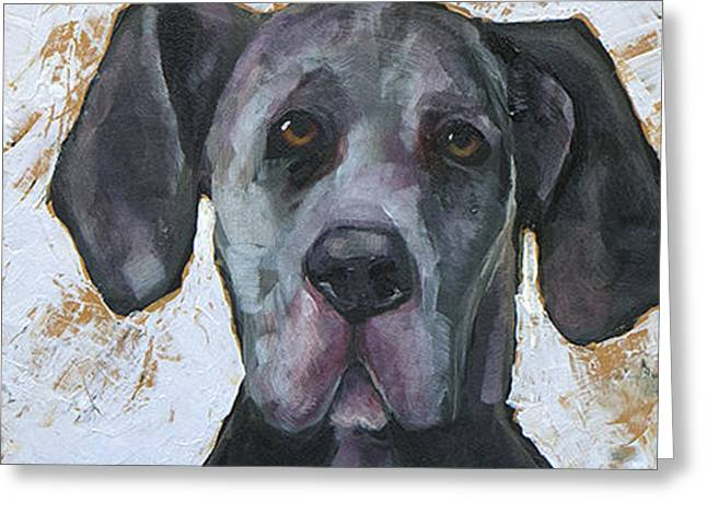 Great Paintings Greeting Cards - Great Dane Greeting Card by Mary Medrano