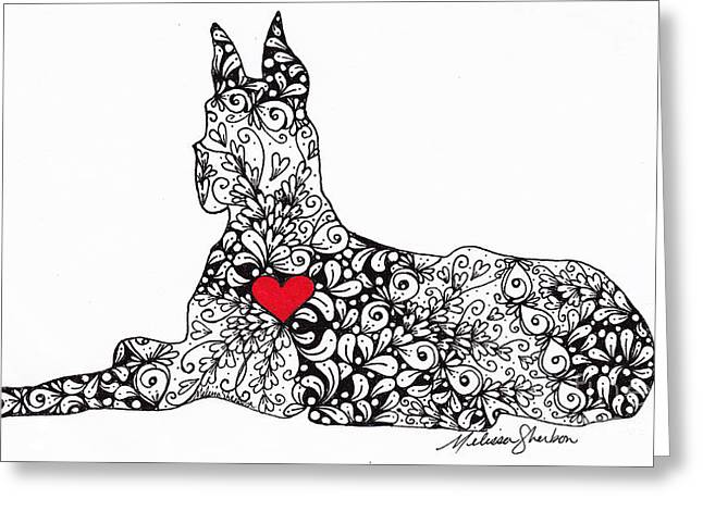 Puppies Drawings Greeting Cards - Great Dane Greeting Card by Melissa Sherbon