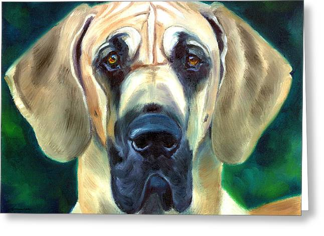 Great Dane Portrait Greeting Cards - Great Dane Nobility Greeting Card by Lyn Cook
