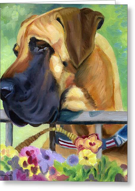 Puppies Greeting Cards - Great Dane on balcony Greeting Card by Lyn Cook