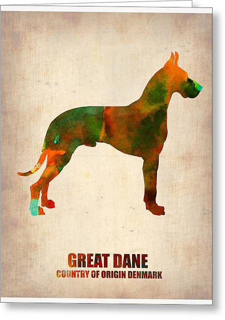Colorful Art Digital Art Greeting Cards - Great Dane Poster Greeting Card by Naxart Studio