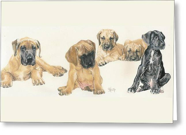 Working Dog Greeting Cards - Great Dane Puppies Greeting Card by Barbara Keith