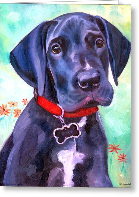 Puppies Paintings Greeting Cards - Great Dane Puppy Sweetness Greeting Card by Lyn Cook