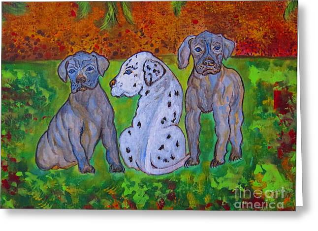 Harlequin Great Dane Puppies Greeting Cards - Great Dane Pups Greeting Card by Ella Kaye Dickey