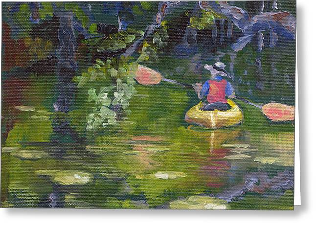Florida Panhandle Paintings Greeting Cards - Great Day For a Paddle Greeting Card by Susan Richardson