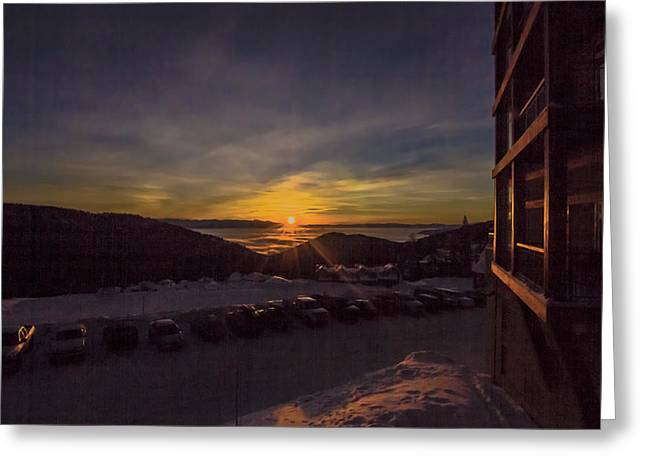 Schweitzer Greeting Cards - Great Day for Skiing Greeting Card by Albert Seger