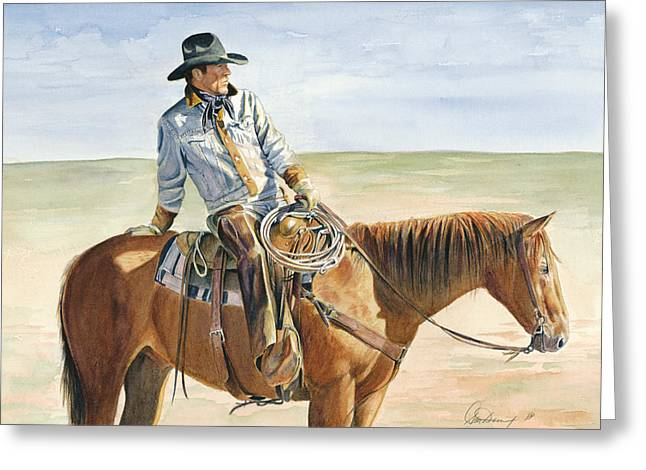 Rope Greeting Cards - Great Day To Be A Cowboy Greeting Card by Don Dane