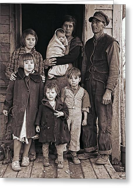 Impoverished Greeting Cards - Great Depression Iowa Farm Family  1936 Greeting Card by Daniel Hagerman
