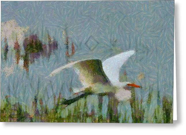 Wildlife Refuge. Greeting Cards - Great Egret Painting Greeting Card by Dan Sproul