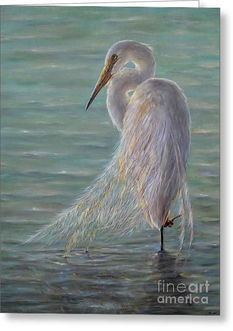 Plain Air Artist Greeting Cards - Great Egret Greeting Card by Yelena Koehn