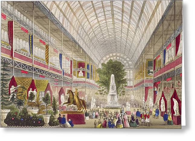 Fountain Greeting Cards - Great Exhibition, 1851 South Transept Greeting Card by English School