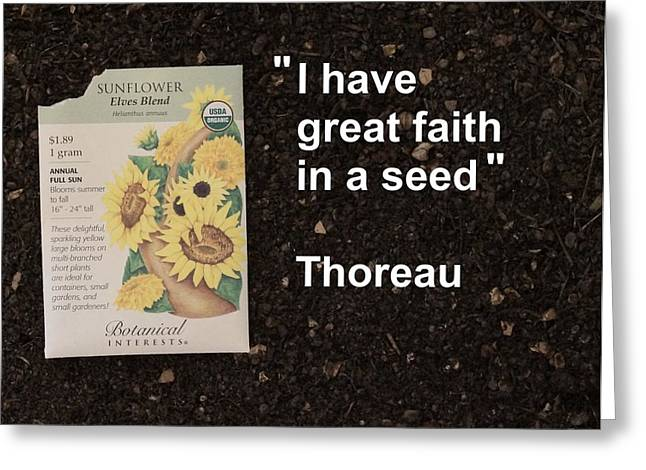 Local Food Greeting Cards - Great Faith in a Seed Greeting Card by Jon Simmons