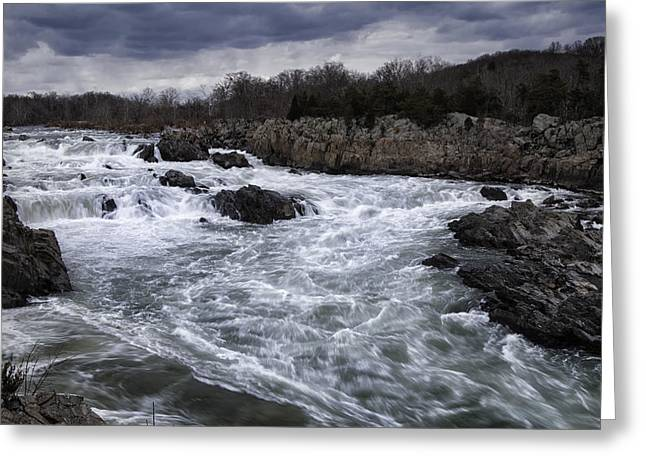 Water Flowing Greeting Cards - Great Falls Greeting Card by Joan Carroll