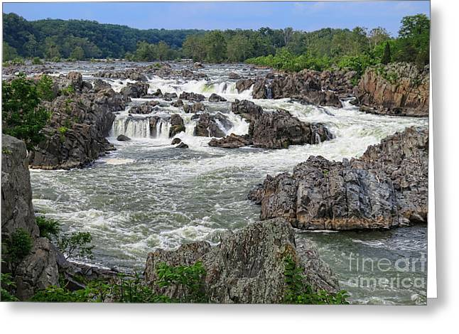 """great Falls"" Greeting Cards - Great Falls of the Potomac Greeting Card by Olivier Le Queinec"