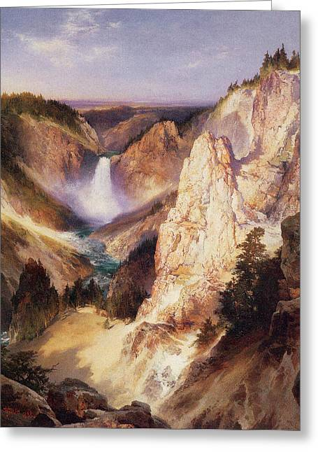 Great Falls Of Yellowstone Greeting Cards - Great Falls Of Yellowstone Greeting Card by Thomas Moran