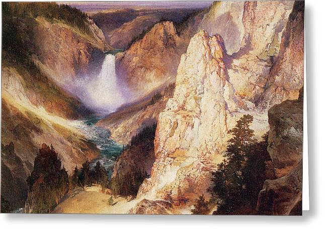 Great Falls Of Yellowstone Greeting Card by Thomas Moran