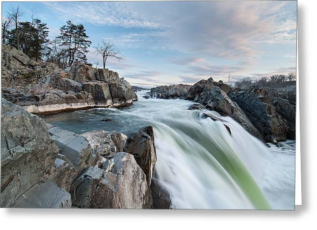 """great Falls"" Greeting Cards - Great Falls on the Potomac River Greeting Card by Mark VanDyke"