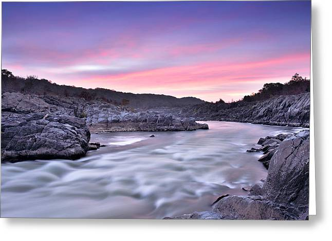 Mclean Greeting Cards - Great Falls Park - Potomac River Sunrise Greeting Card by Brendan Reals