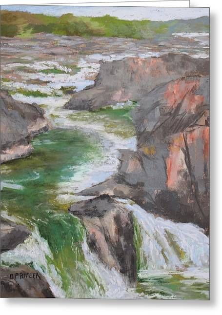 Washington D.c. Pastels Greeting Cards - Great Falls Toward Riverbend Greeting Card by Bonnie Ferguson Butler
