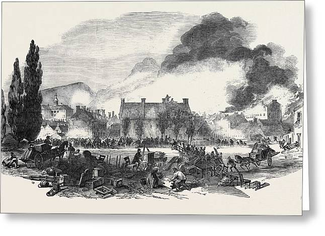 Great Fire At Montreal, Sketched From The North Corner Greeting Card by English School