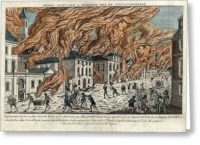 French School; (18th Century) Greeting Cards - Great Fire of New York, 1776 Greeting Card by Science Photo Library