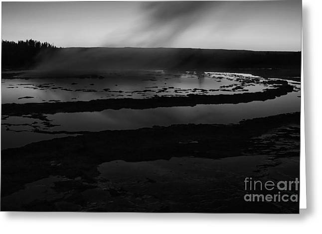 Geyser Greeting Cards - Great Fountain Geyser Black and White Greeting Card by Mark Kiver