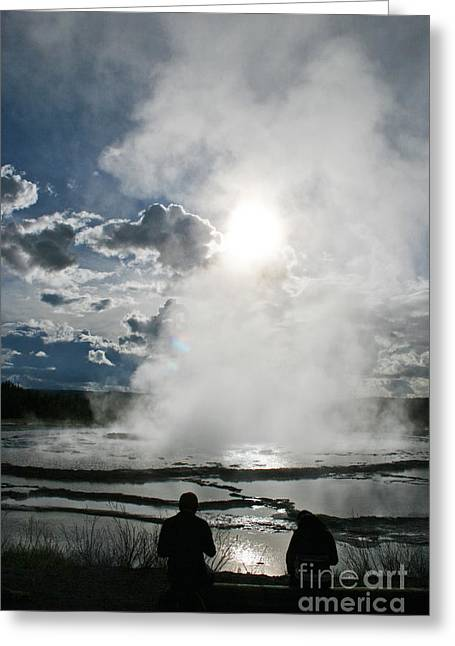 Great Fountain Geyser Silhouette Twenty Seven Greeting Card by Donald Sewell