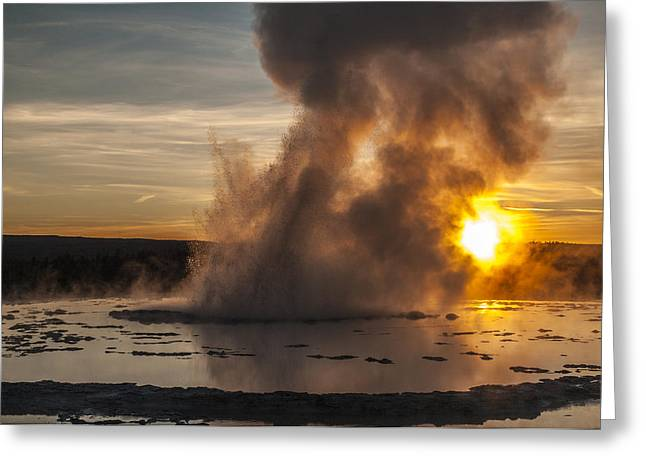 Famous Photographer Greeting Cards - Great Fountain Geyser Sunset - Yellowstone National Park Greeting Card by Brian Harig