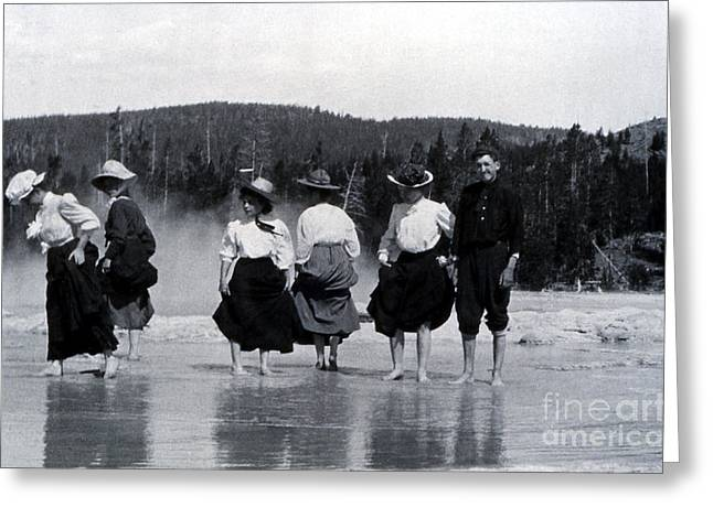Cooling Off Greeting Cards - Great Fountain Geyser Yellowstone National Park Greeting Card by NPS Photo