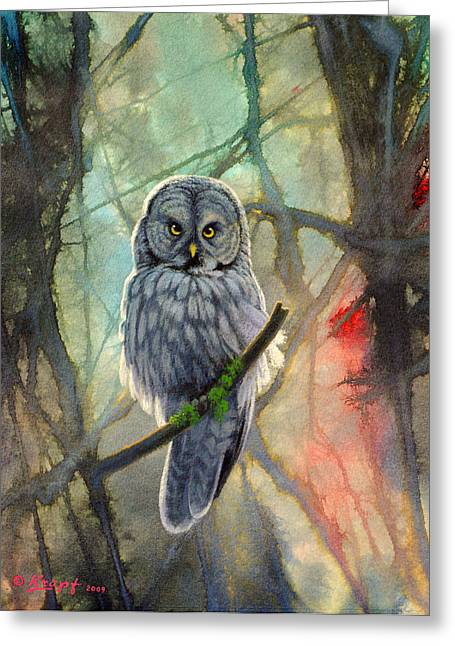 Great Grey Owl In Abstract Greeting Card by Paul Krapf