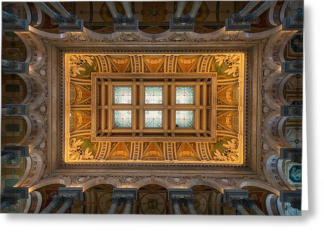 Congress Greeting Cards - Great Hall Ceiling Library Of Congress Greeting Card by Steve Gadomski