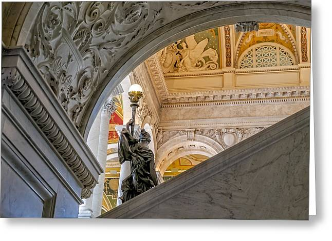 Beaux-arts Greeting Cards - Great Hall Library Of Congress Greeting Card by Susan Candelario