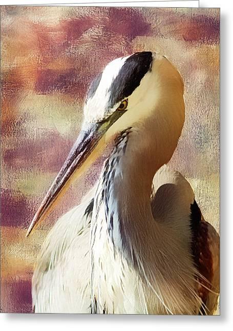 Great Heron Greeting Cards - Great Heron Portrait Greeting Card by Georgiana Romanovna