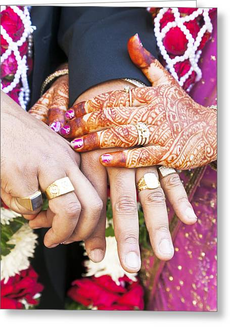 Rings On Fingers Greeting Cards - Great Hindu Wedding Now you are are Vertically  Greeting Card by Kantilal Patel