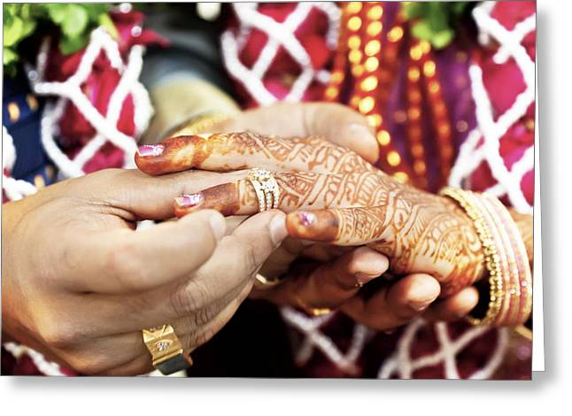 Rings On Fingers Greeting Cards - Great Hindu Wedding With this ring I thee Greeting Card by Kantilal Patel