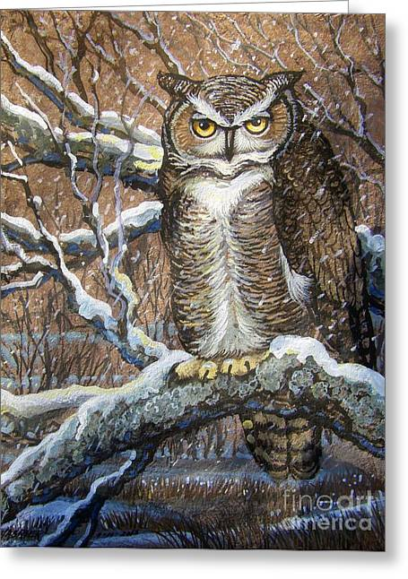 Amate Bark Paper Greeting Cards - Great Horned Owl Another Storm Greeting Card by Anne Shoemaker-Magdaleno