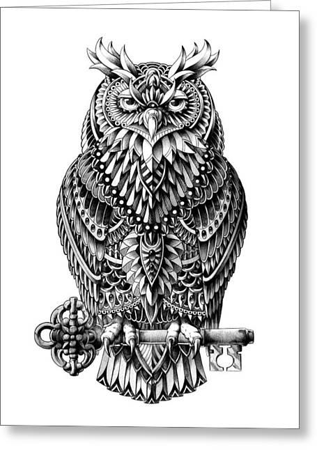 Bird Of Prey Greeting Cards - Great Horned Owl Greeting Card by BioWorkZ