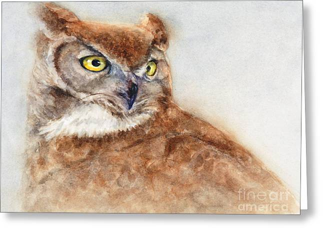 Great Paintings Greeting Cards - Great Horned Owl Greeting Card by Bonnie Rinier