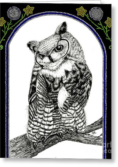 Wild Life Drawings Greeting Cards - Great Horned Owl Greeting Card by Christine Matha