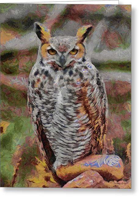 Nature Center Greeting Cards - Great Horned Owl Fun 2 Greeting Card by Ernie Echols