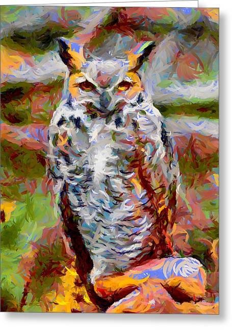 Fountain Creek Nature Center Greeting Cards - Great Horned Owl Fun Greeting Card by Ernie Echols